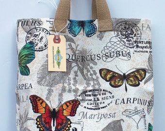 Small Canvas Bag: Bright Butterflies, washable
