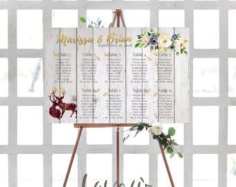 Wedding seating chart printable, Gold guests list watercolor printable, Boho guest list seating chart floral, Rustic Deers Tabeau de Mariage