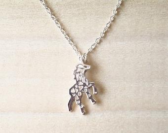 Cute Origami Unicorn Silver Necklace