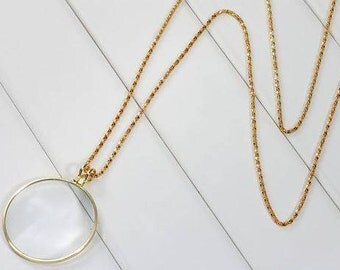 6X Magnifying Glass Necklace Chain Gold Plated