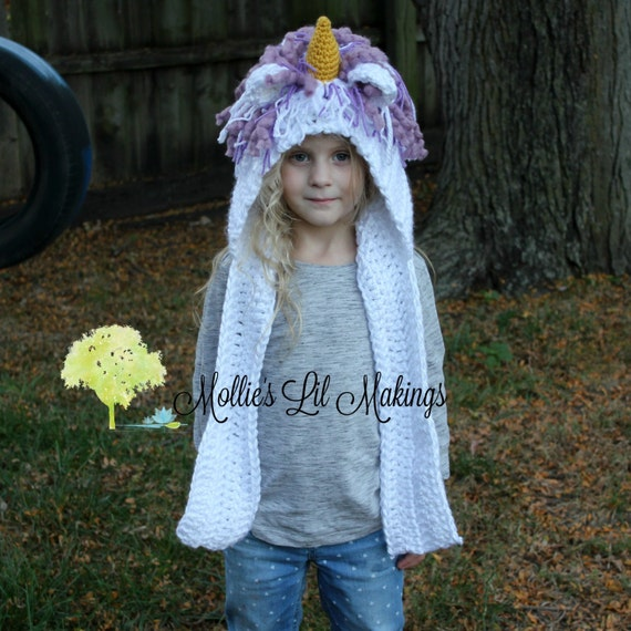 Knitting Pattern For Unicorn Hooded Scarf : Unicorn Hooded Scarf Unicorn Hat Unicorn Hood Unicorn Scarf
