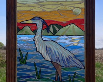 Blue Heron Stained Glass Mosaic Panel - Stained Glass Sunset Mosaic Window Hanging - Stained Glass Heron Mosaic - Stained Glass Panel
