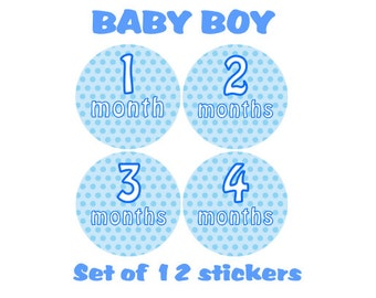 MONTHLY 12 Months Baby Boy Blue Polka Dots Stickers Milestone Stickers Age Clothes Newborn Stickers UK Matte