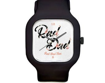 White Floral RAD DAD Sport Watch, wristwatch, father's day, for dad, dads