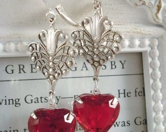Art Deco Earrings - Red Heart Earrings -  Art Deco Jewelry - Valentine's Day Earrings - Heart Jewelry