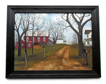 Farmhouse and Barn, Billy Jacobs, The Old Dirt Road, Country Decor, Art Print, Country Primitive Art, 28X22, Wood Frame, Handmade in the USA