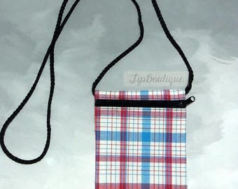 Small Mini Travel Bag Passport Money Cell Phone Neck Pouch Cross body Sling Crossbody Zipper Plaid Cotton Fabric Ps04