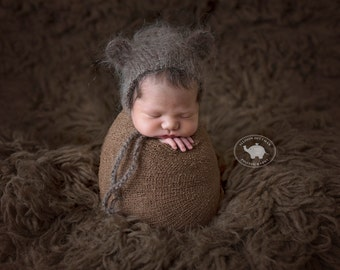 Newborn photo prop bear bonnet / photography prop bonnet wrap set / baby bonnet hat / newborn mohair bonnet / mohair props / hat with ears