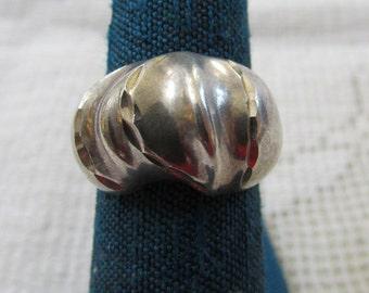 Vintage chunky modernist sterling ring size 6.5 signed ISC