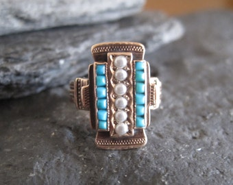 Victorian Turquoise and Pearl Ring in 14k Pink Gold - JL799