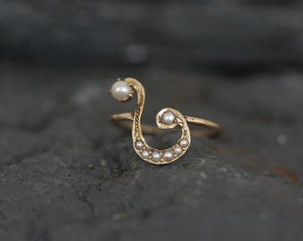 14k Yellow Gold Pearl Victorian Question Mark Conversion Ring - JL691