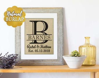 Personalized Wedding Gifts for Couple, Bridal Shower Gift for Women, Mr and Mrs Wall Decor, Personalized Wedding Signs Burlap Print