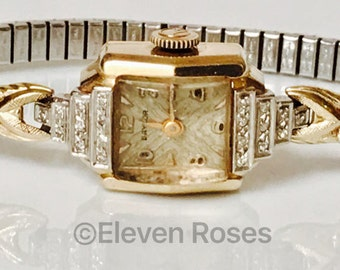 Vintage Art Deco 14k 585 Solid Yellow Gold & Diamond Baylor Mechanical Wrist Watch