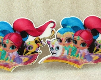 2 Pcs Shimmer and Shine Inspired -Planar Resin-Cabochon-Party Decor-Embellishment-Hair bow Center-Resin-Plastic-Girls