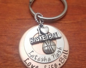 Hand stamped basketball players key chain with-Love.Life.Ball-Sports gift-Basketball player gift-I love basketball-player's keychain