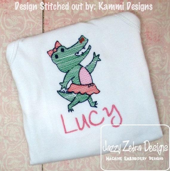 Alligator Girl sketch embroidery design - alligator embroidery design - alligator sketch embroidery design - summer embroidery design - Girl