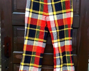 Vintage 70's Women's Midrise Plaid Fringed Bellbottom Pants by Garland size small