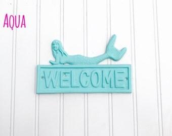 Welcome Mermaid Sign - Mermaid Decor - Mermaids - Entryway Sign - Bathroom Decor - Bedroom Decor - Coastal Decor - Beach Decor