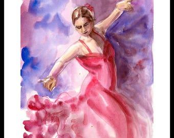 Original painting, flamenco dancer Art, Handmade Art, dance recital gift, dance teacher gift, dance studio, dance decoration, Spanish Dance
