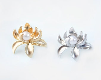 Chinese Chrysanthemum Earrings in Gold and Silver, Stud Earrings, Post Earrings, Gold and Pearl Earrings