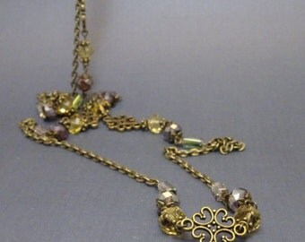 Long Wrap Necklace, Vintage Style Filigree & Crystals, 45 Inches Long, Antique Bronze, Victorian Steampunk Filigree 2008