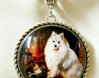 White spitz and kitten pendant and chain - DAP25-010