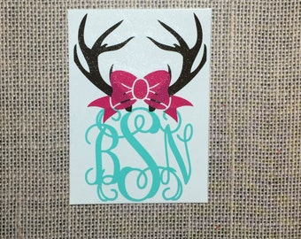 Antlers Monogram with bow (vine font) *Please read entire description*