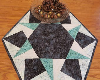 Quilted Round Table Runner Teal Batik Table Runner
