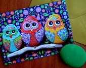 Greeting Card - Painted stone Owls -
