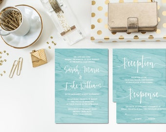 Aqua Wood Wedding Invitation Set