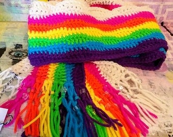 rainbow scarf crochet handmade beaded girl gift pride one of a kind original