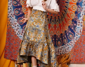 Fine Art Collection India summer golden traditional painting floral gorgeous skirt