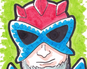 "Stratos Masters of the Universe artist trading card ACEO 2 1/2"" x 3 1/2"""