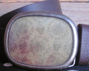 belt buckles skull belt buckles mens belt buckles unisex belt buckle Custom Antique silver rustic  skull belt buckle women's belt buckle