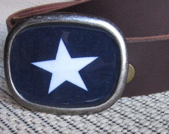 blue and white star  Patriotic belt buckle Rustic  mens belt buckle unisex Belt Buckle women's belt buckle country Western belt buckle boho