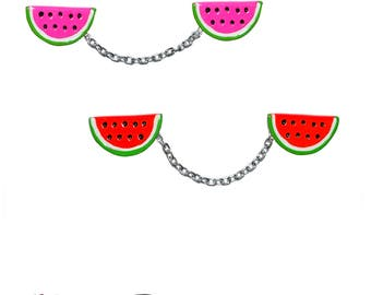 Watermelon Sweater Guard Clips ~ BBQ Dessert Jewelry Delicious Pin up