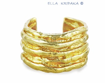15% Sale 55g and 68g Solid 18k Gold Width 40mm 1.58in Boho Dome Hammered Art Women Men by Ella Kripaka