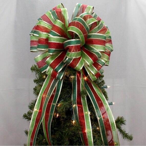 Metallic Stripe Christmas Tree Topper Bow Christmas Tree
