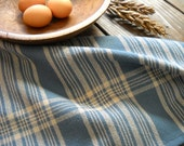 "Hand Woven Tea Towel - Lightweight Woven Cotton Blue, Taupe Bread Cloth - Basket Liner - Gourmet, Hostess Gift  17.5""x26.5"""
