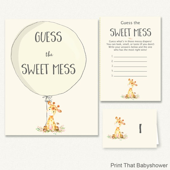 Baby Shower Games Guess The Sweet Mess Game Giraffe Baby Shower