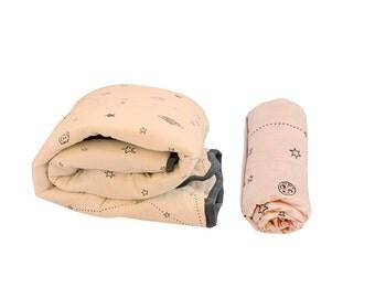 Baby Girl Gift, Crib Bedding Set, Nursery Bedding Girl, Girl Baby Bedding Set, Pink Stars Winter Cot Bedding Set - Blanket & Sheet
