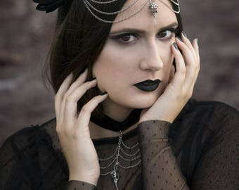 Black Feather Headpiece - Raven