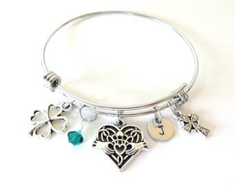 Irish Celtic St. Patricks Day Stainless Steel Bangle Personalized Hand Stamped Crystal You Select Bangle Size