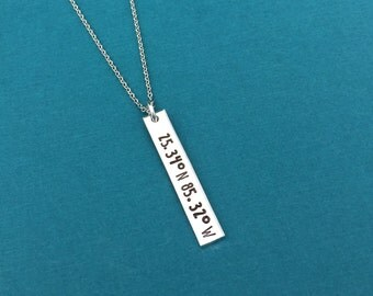 Coordinates Necklace, Hand Stamped Jewelry, Graduation Gift, Personalized Gift, Vertical Bar Necklace, Christmas Gift For Her, Friend Gift