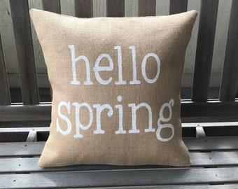 Hello Spring Burlap Pillow - Spring Decor - Easter Pillow
