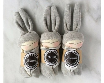 Doll with bunny ears and grey comforter,baby friendly stuffed plush toy,soft baby toys,
