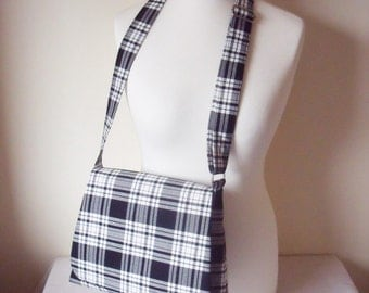 Black & White Tartan Messenger Bag, Cross body messenger / Shoulder Bag / Handbag FREE kilt pin brooch Menzies plaid Handmade in Scotland!