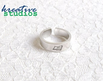 Book Hand Stamped Ring - Simply Stamped, Book Nerd, Belle, Writer, Author, Geeky, Nerdy, Book Lover, Handmade, Fun, Cute