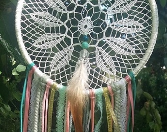 Shabby chic dreamcatcher - BOHO - girl nursery - baby girl - mint pink gold ribbons