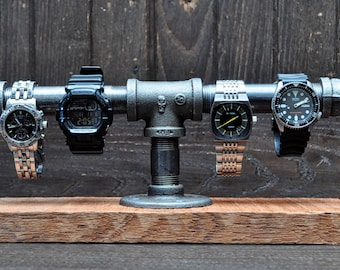 Industrial Pipe Watch Stand, and Jewelry Holder